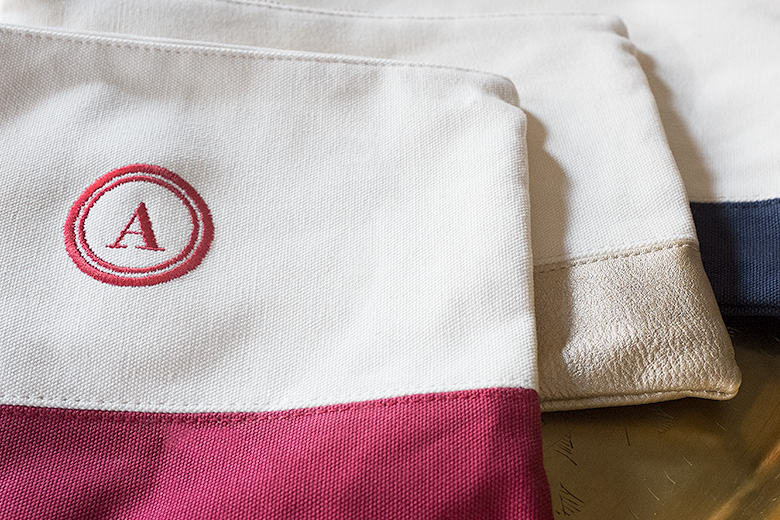 Embroidered Initial Canvas Pouches from Shutterfly