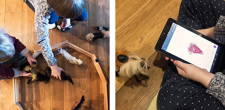 Playing with toy horses and making an e-book about them on our NOOK