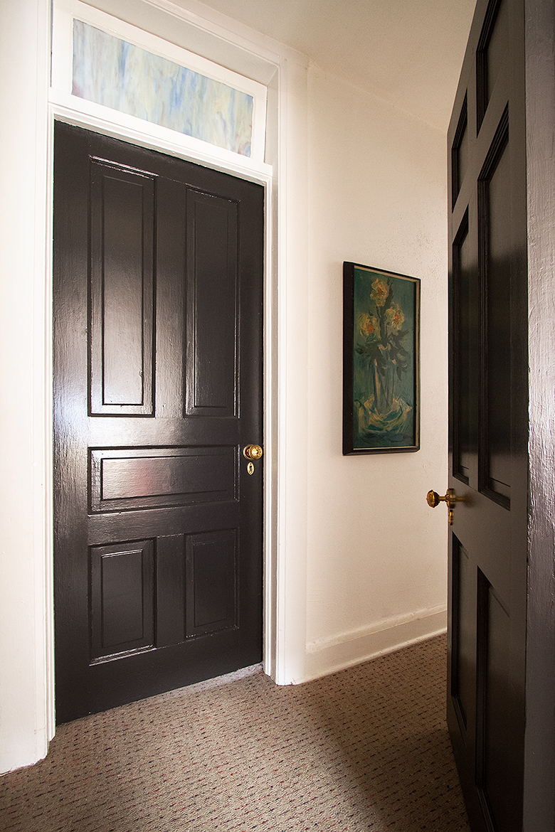 Black Painted Doors with Brass Hardware from Nostalgic Warehouse | Making it Lovely, One Room Challenge