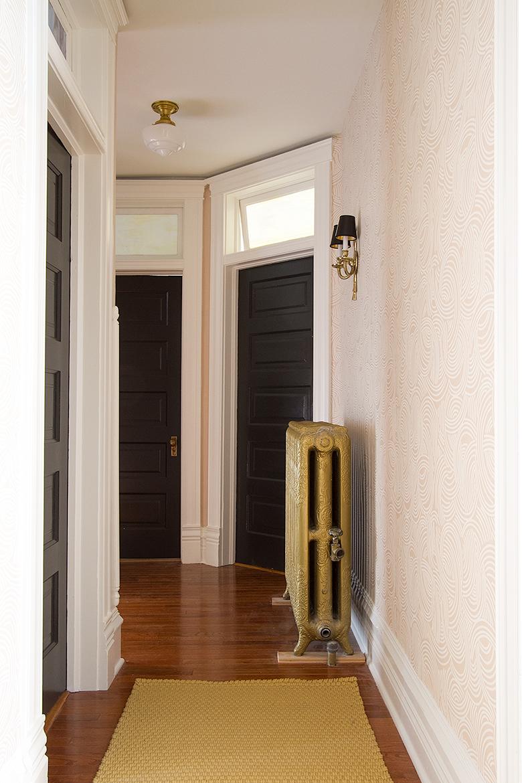 Black Doors, Tourbillon Farrow & Ball Wallpaper, Victorian Hallway   Making it Lovely, One Room Challenge