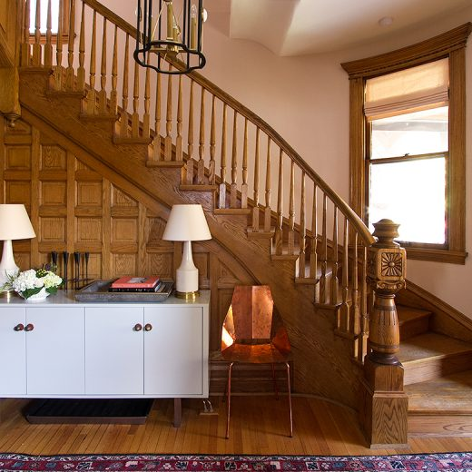 Oak-Paneled Victorian Staircase and Front Entry with Curved Window | Making it Lovely, One Room Challenge