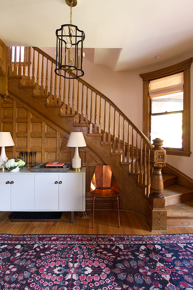 Oak-Paneled Victorian Staircase and Front Entry with Curved Window   Making it Lovely, One Room Challenge