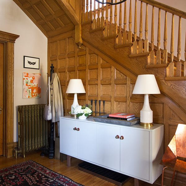 Victorian Stairway with Oak Wood Paneling | Making it Lovely, One Room Challenge