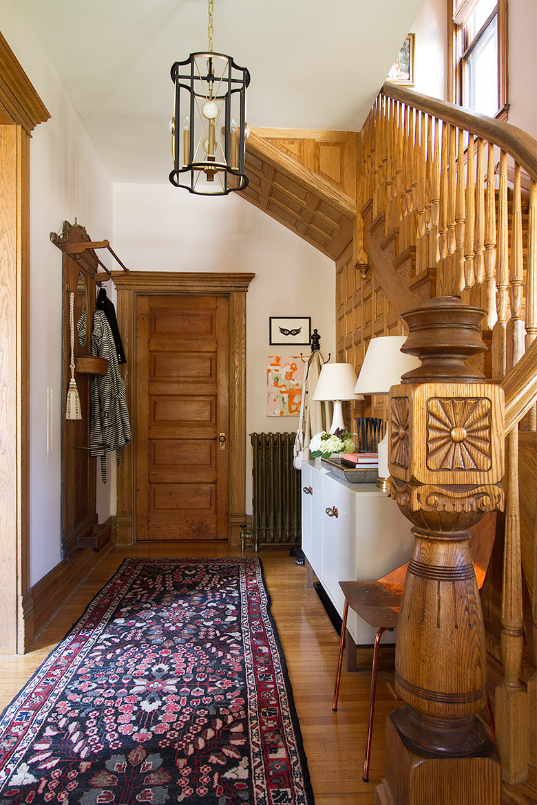 Victorian Oak Paneling Entry and Stairway   Making it Lovely, One Room Challenge
