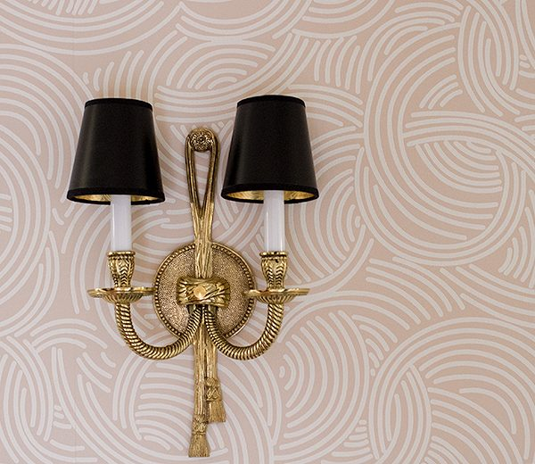 Brass Rope and Tassel Crystorama Sconce on Pink Farrow & Ball Wallpaper | Making it Lovely, One Room Challenge