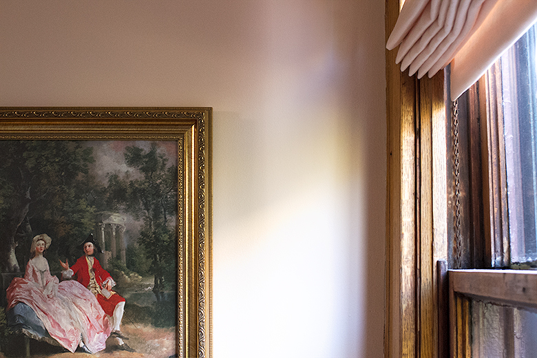 Pink Roman Shade, Original Victorian Wooden Window, Thomas Gainsborough Print   Making it Lovely, One Room Challenge