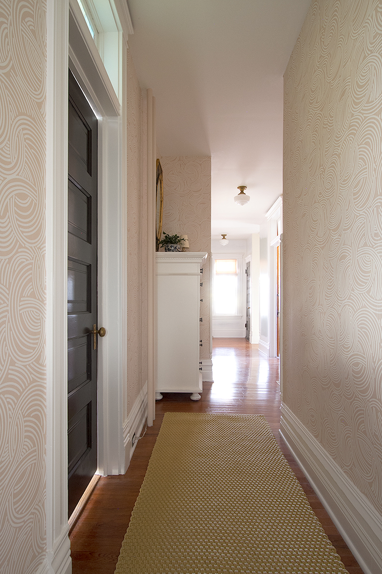 Wallpapered Hallway in Progress | Making it Lovely, One Room Challenge