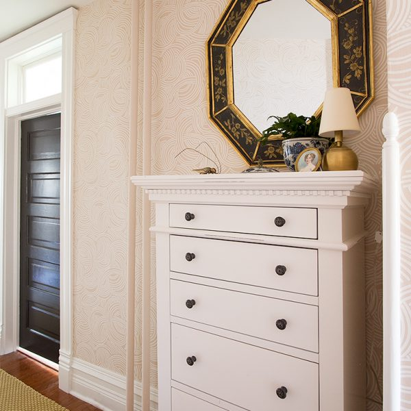 White Dresser from Joss & Main, Black Octagonal Mirror from South Loop Loft, Runner Rug from Dash & Albert, Tourbillon Wallpaper by Farrow & Ball   Making it Lovely, One Room Challenge