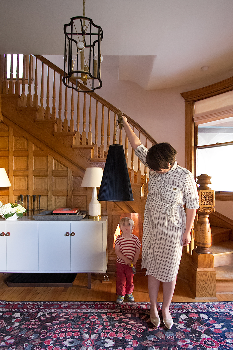 Black Pleated Pendant Shade from AllModern   Making it Lovely, One Room Challenge