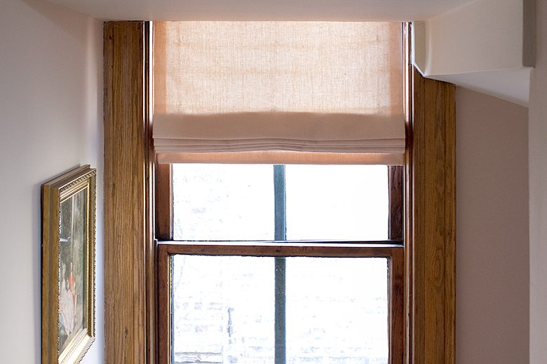 Pink Linen Roman Shades from The Shade Store | Making it Lovely, One Room Challenge
