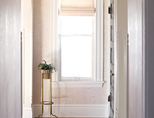 Pink roman shade from The Shade Store, Farrow & Ball Tourbillon Wallpaper, Schoolhouse Electric brass light | Making it Lovely, One Room Challenge