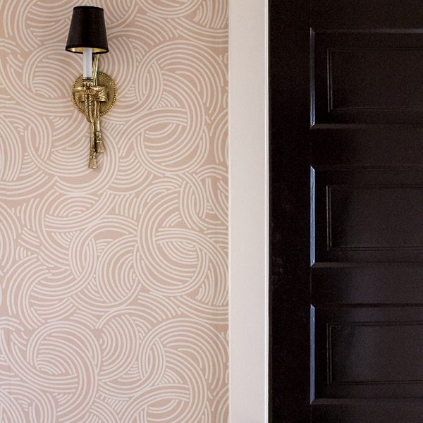 Brass Sconce, Pink Wallpaper, Black Doors, White Trim | Making it Lovely, One Room Challenge