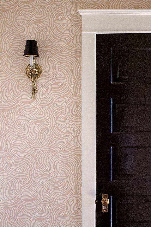 Brass Sconce, Pink Wallpaper, Black Doors, White Trim | Making it Lovely, One Room Challenge