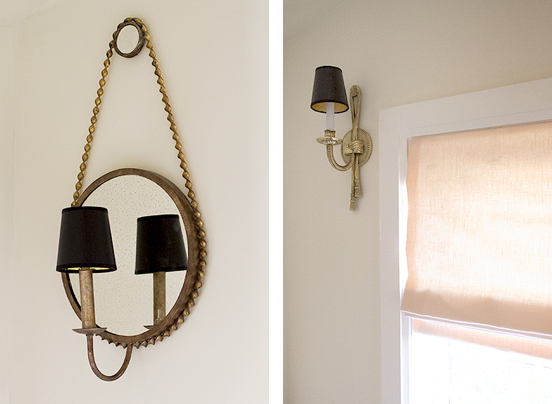 Sconces with Black Chandelier Shades | Making it Lovely, One Room Challenge