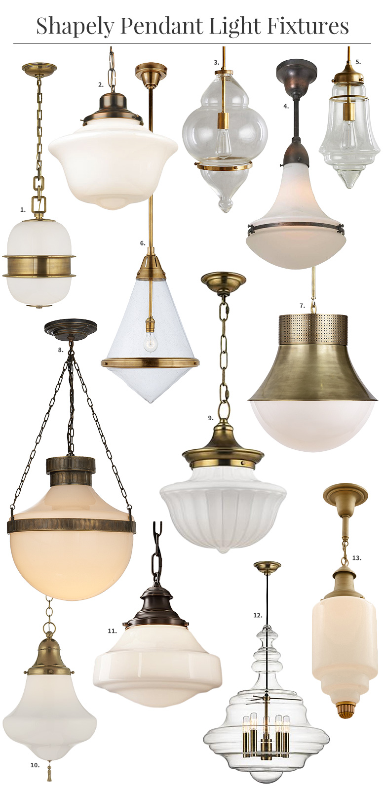 Shapely Glass Pendant Light Fixtures | Making it Lovely