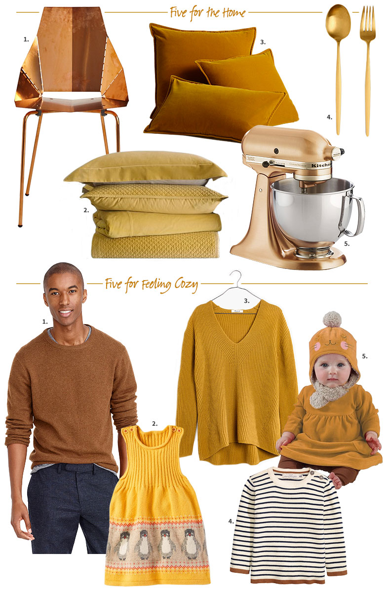 A Gift Guide in Mustard & Ochre, Gold, & Copper