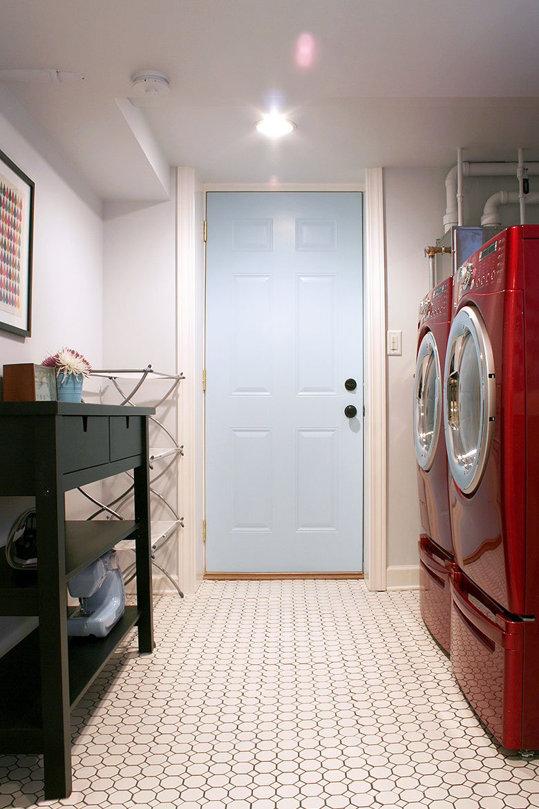Pale Blue Laundry Room with Red Appliances | Making it Lovely