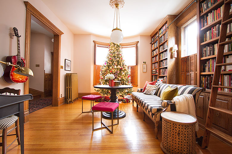Home Library with Christmas Tree   Making it Lovely