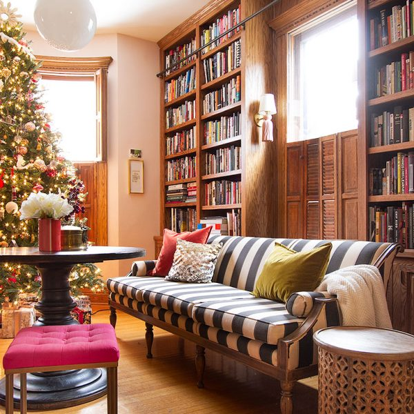Home Library with Christmas Tree | Making it Lovely