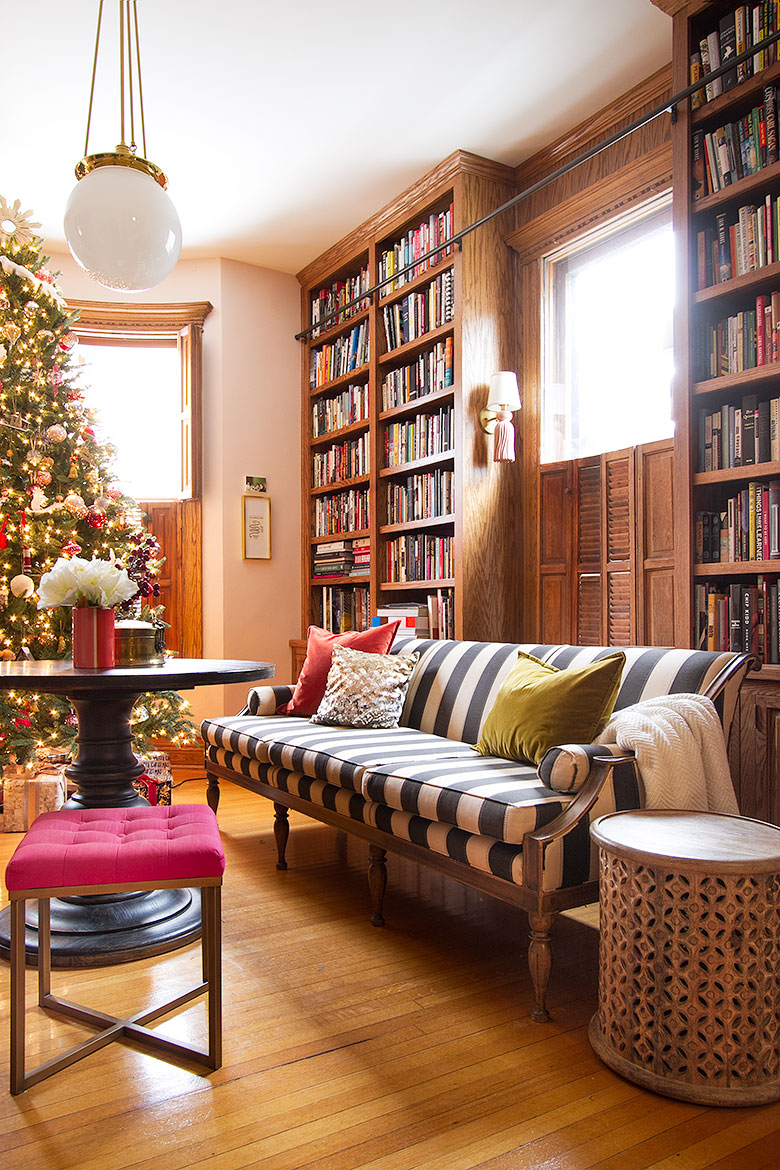 Make A Living Room A Library: The Double Parlor, Decorated For Christmas
