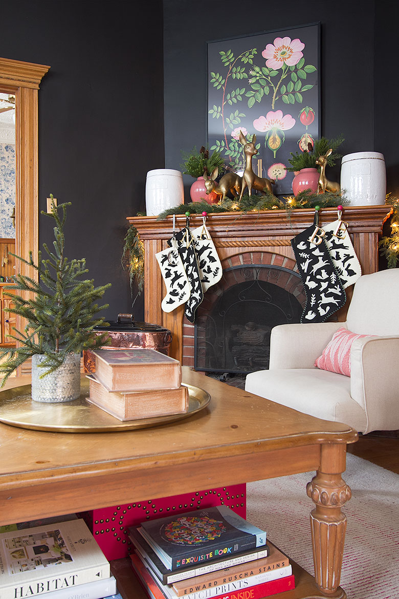 Black Living Room with Wood Fireplace | Making it Lovely