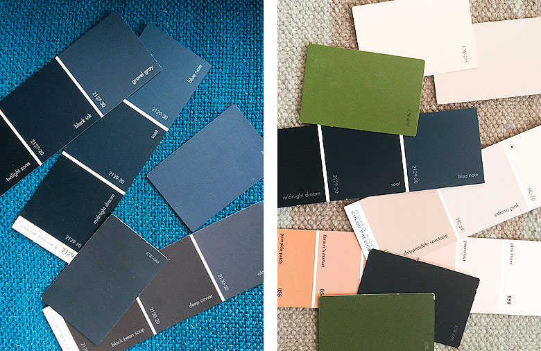 Blue, Green, and Pink Paint Swatches