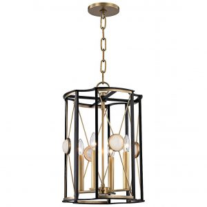 Aged Brass and Quartz Pendant Light