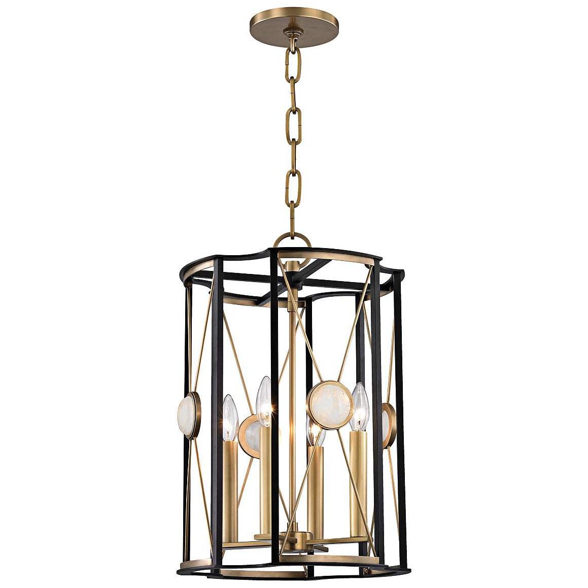 Aged Brass And Quartz Pendant Light