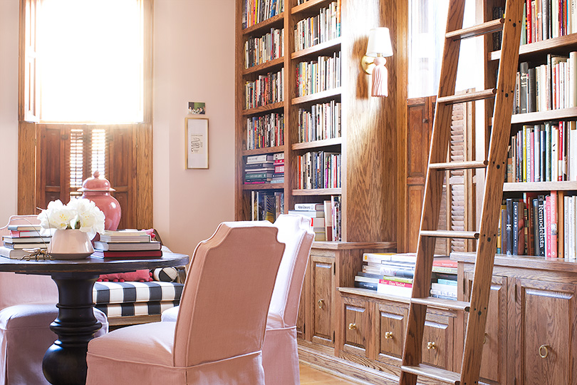 Home Library With Rolling Ladder | Making It Lovely