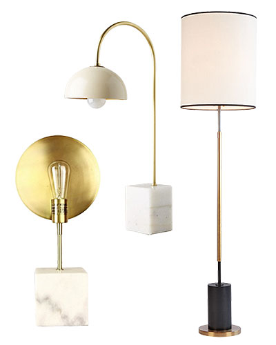 Lamps with Marble and/or Brass Accents