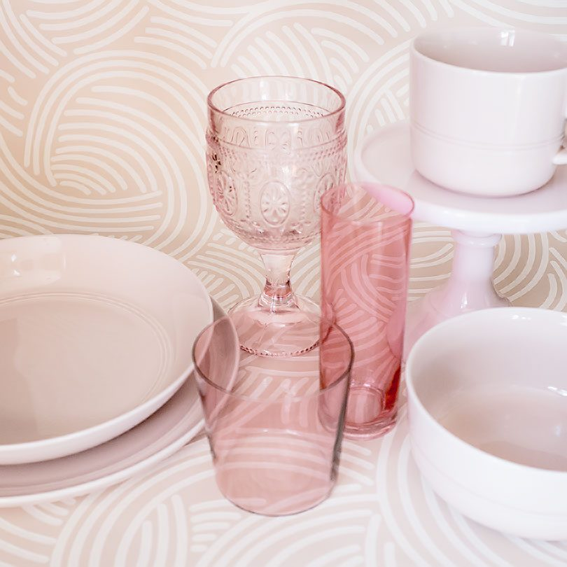 Pink Glasses and Dishes | Making it Lovely