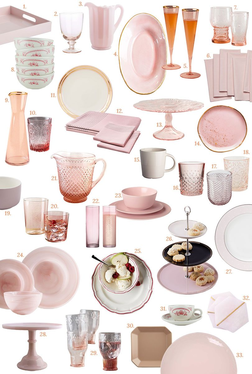 Pink Tabletop (Glasses, Dishes and Dinnerware, Serving Pieces, and More) | Making it Lovely