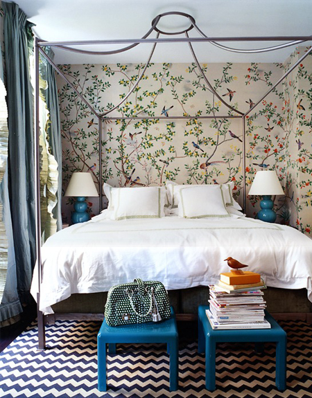 Miles Redd Bedroom with Chinoiserie Wallpaper