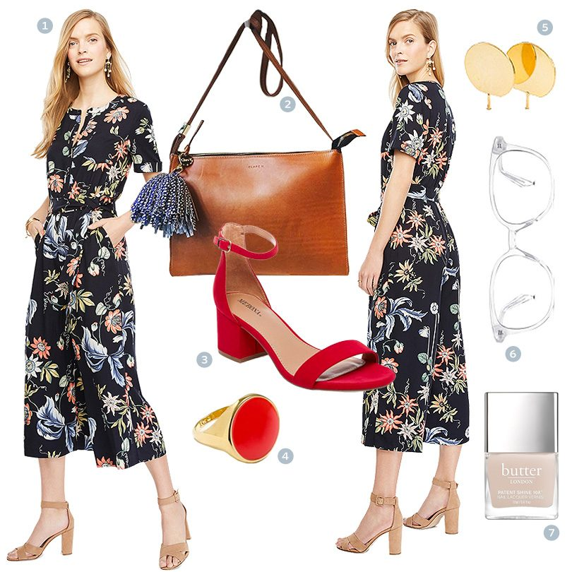What to wear with a floral culotte jumpsuit!