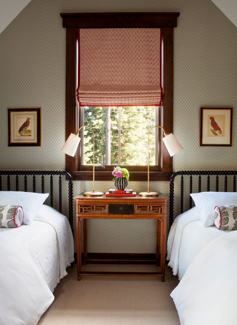 Attic Guest Room with Two Twin Beds, Designed by Palmer Weiss