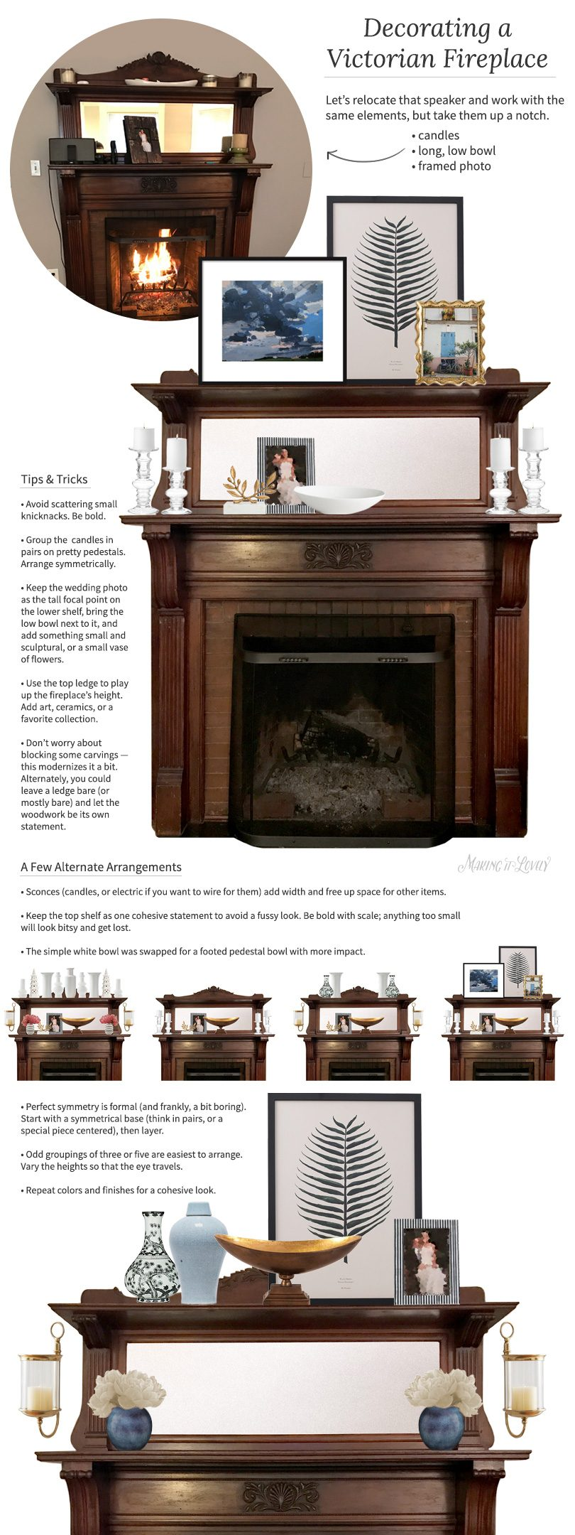 Ideas for Decorating a Modern Victorian Fireplace Mantel | Making it Lovely