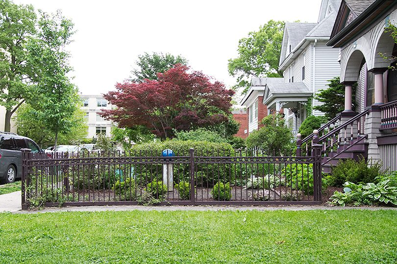 Side View, Front Yard with Antique Iron Victorian Fence