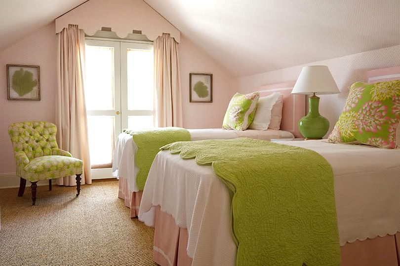 Two Twin Beds in an Attic Bedroom, Design by Phoebe Howard