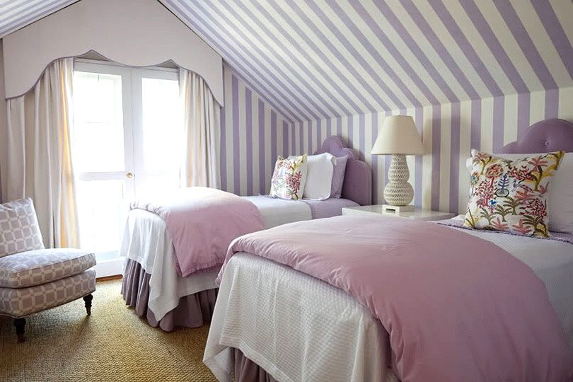 Purple Striped Wallpaper and Two Twin Beds in an Attic Bedroom, Design by Phoebe Howard