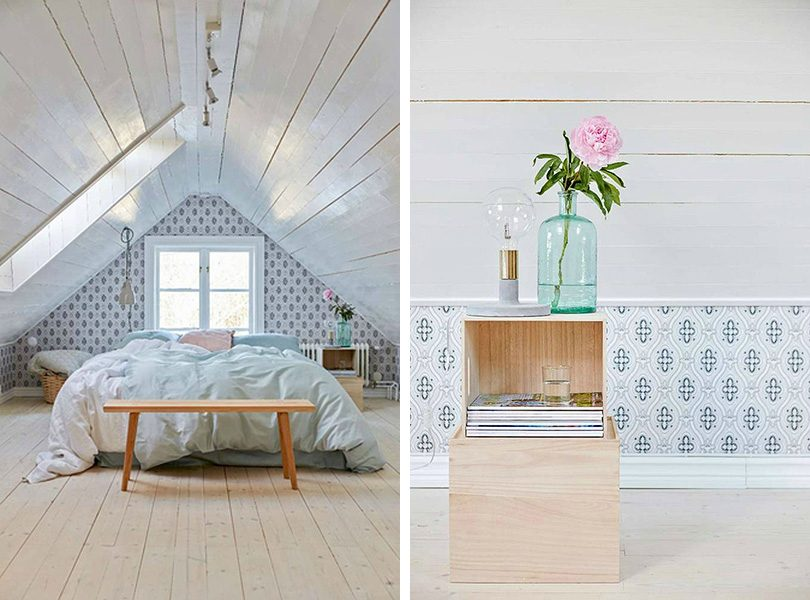 Wallpapered Attic Bedroom with Planked / Shiplap Ceiling