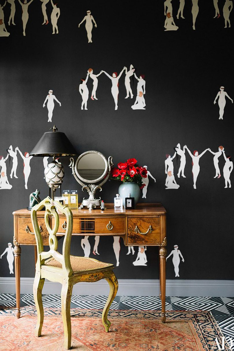Karen Elson's Home Tour with Coven Wallpaper by Maison C