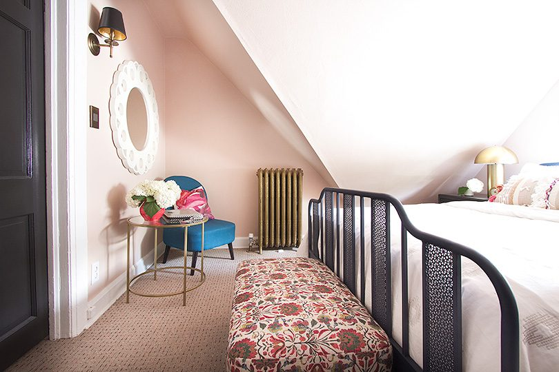 Pink Guest Room, Patterned Bench at Foot of Bed