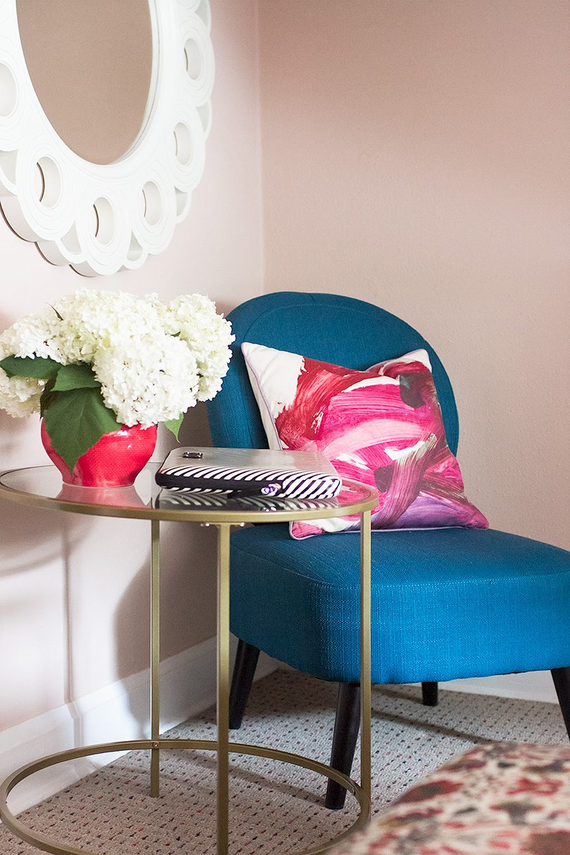 Teal Chair, Peachy Pink Walls