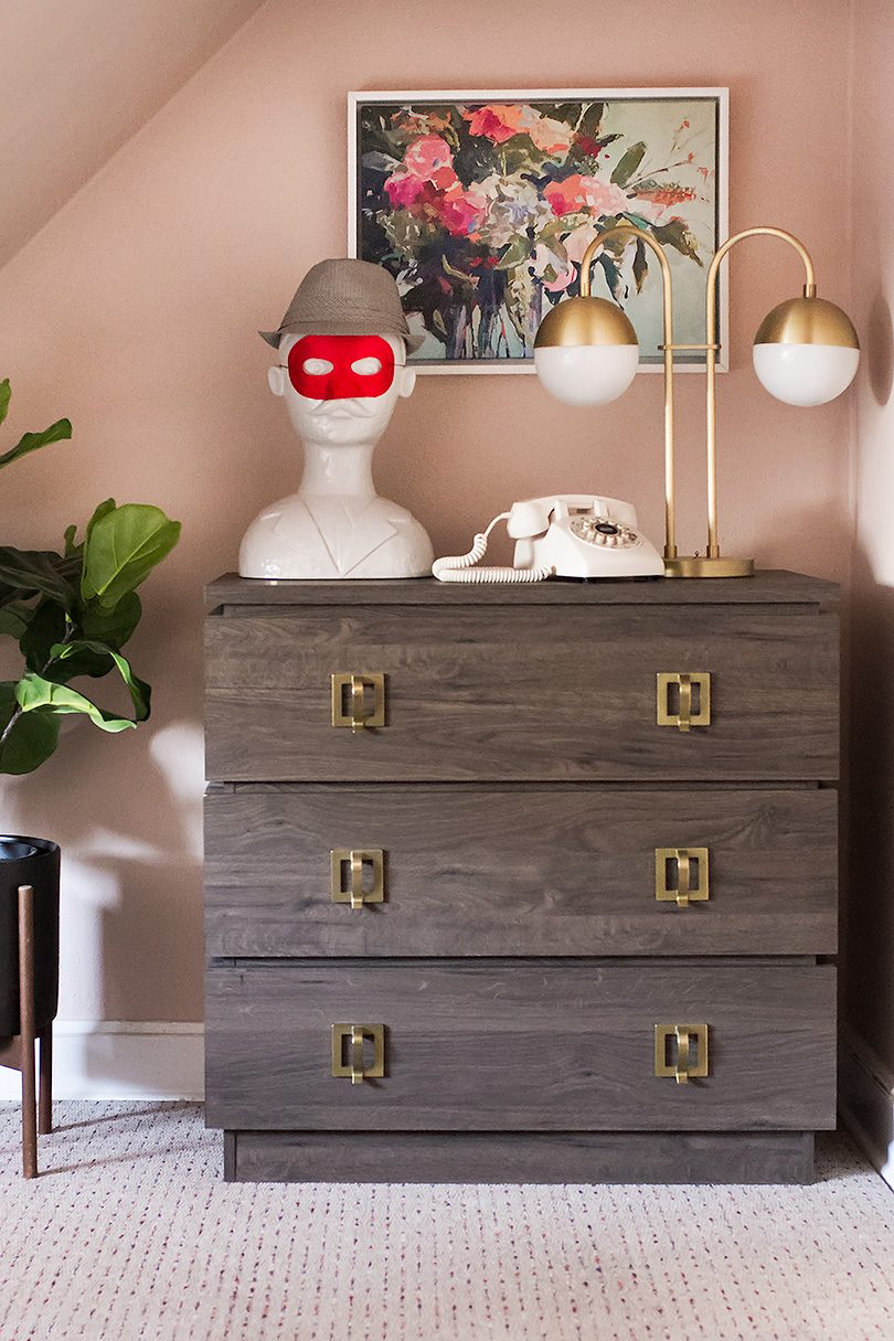 Wooden Dresser with Brass Pulls