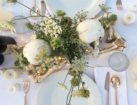 Dîner en Blanc Gothic White Table with Skeletons | Making it Lovely