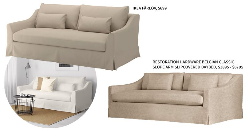 IKEA FÄRLÖV Sofa vs. Restoration Hardware Belgian Classic Slope Arm Slipcovered Daybed