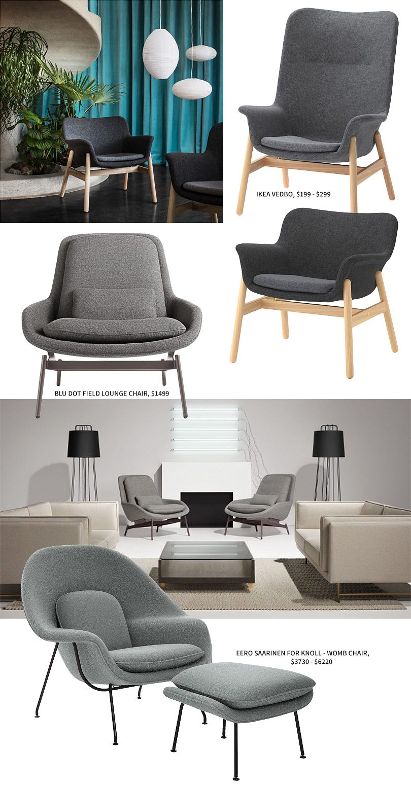 IKEA VEDBO vs. Blu Dot FIeld Lounge Chair vs. Eero Saarinen Womb Chair