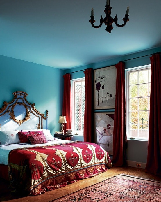 Aqua And Red Bedroom Olatz Schnabel