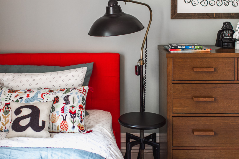 Red Upholstered Bed, Industrial Floor Lamp | Making it Lovely