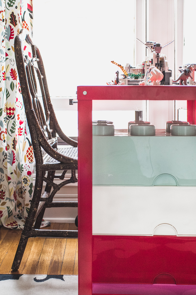 Vintage Chinoiserie Chair, Red Metal Desk, LEGO Storage Bricks | Making it Lovely